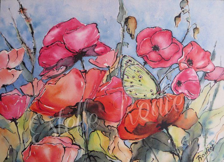 Chant floral (27cm x 37cm) $295 encadré