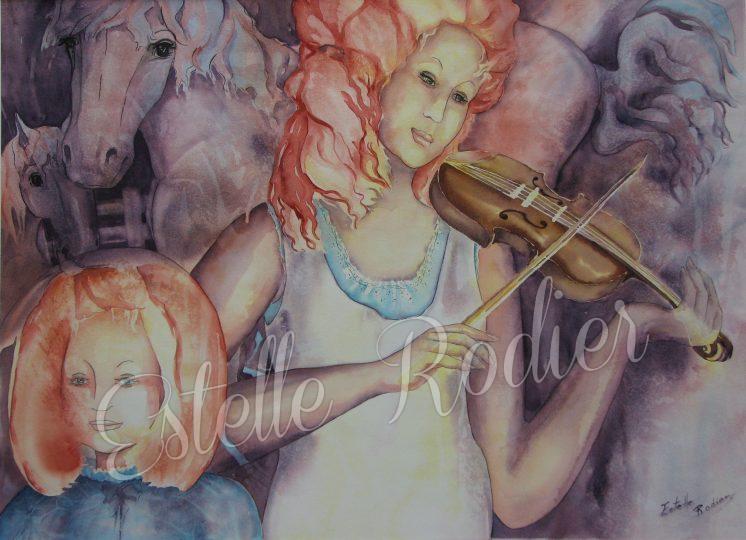 Le violon enchanté (56cm x 76cm) $650 encadré