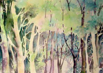 Mystérieuse forêt (27cm x 37cm) $275 encadré