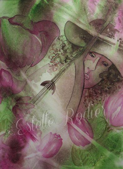 Symphonie florale (37cmx27cm) $295 encadré